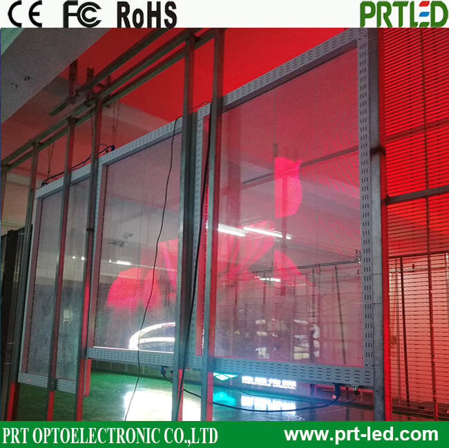 P3.91, P7.81 Panel de pantalla LED transparente a todo color para publicidad en escaparates